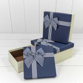 Набор коробок Элегантный бант, Синий, 19*19*9 см, 3 шт.
