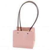 Пакет подарочный, Для цветов, влагостойкий, Розовый, 13*15*12 см, 1 шт.