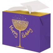 Пакет-коробка подарочный, С Днем Рождения (золотой бокал), Фиолетовый, Металлик, с блестками, 15*11*