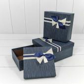Набор коробок Элегантный бант, Темно-синий, 19*19*9 см, 3 шт.