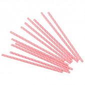 Трубочки для коктейлей, Белые точки, Розовый, 12 шт.