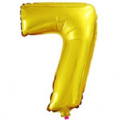 Шар с клапаном (16''/41 см) Мини-цифра, 7, Золото, 1 шт.