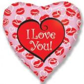 Шар (18''/46 см) Сердце, Я люблю тебя (поцелуи), Розовый, 1 шт.
