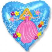 Шар (18''/46 см) Сердце, Принцесса, Голубой, 1 шт.