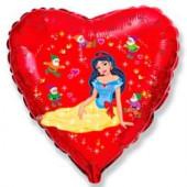 Шар (18''/46 см) Сердце, Белоснежка и гномы, Красный, 1 шт.