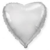 Шар (9''/23 см) Мини-сердце, Серебро, 1 шт.