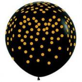 Шар (36''/91 см) Золотое конфетти, Черный (080), пастель, 5 ст, 10 шт.