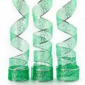 Лента декоративная (6 см*2,74 м) Ассорти дизайнов, Органза, Зеленый, 1 шт.