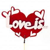Топпер, Сердце, Love is, Красный, 15*7 см, 1 шт.