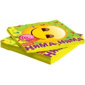 Салфетки, Смайл, Emoji, Желтый, 33*33 см, 12 шт.