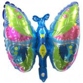 Шар с клапаном (17''/43 см) Мини-фигура, Экзотическая бабочка, Голубой, 1 шт.