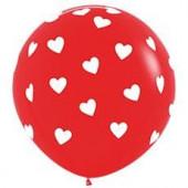 Шар (36''/91 см) Классические сердца, Красный (015), пастель, 5 ст, 1 шт.