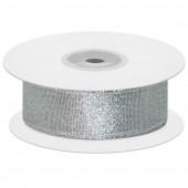 Лента декоративная (2,5 см*22,85 м) Мерцающий блеск, Серебро, Металлик, 1 шт.