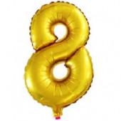 Шар с клапаном (16''/41 см) Мини-цифра, 8, Золото, 1 шт.