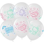 Шар (12''/30 см) Hello Kitty, С Днем Рождения!, Белый (200)/Прозрачный (600), кристалл, 4 ст, 25 шт.