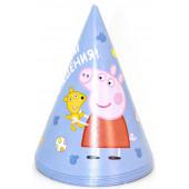 Колпаки Свинка Пеппа, С Днем Рождения!, Голубой, 6 шт.