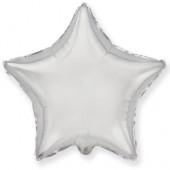 Шар (32''/81 см) Звезда, Серебро, 1 шт.