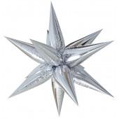 Шар (26''/66 см) Фигура, Звезда составная, Серебро, в упаковке 1 шт.
