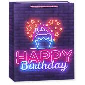 Пакет подарочный, С Днем Рождения!, Неоновые огни (капкейк), Фиолетовый, 23*18*10 см, 1 шт.