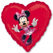 Шар (18''/46 см) Сердце, Минни Маус, Красный, 1 шт.