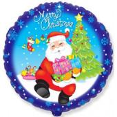 Шар (18''/46 см) Круг, Санта с подарками, Синий, 1 шт.
