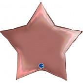 Шар (36''/91 см) Звезда, Розовое Золото, Голография, 1 шт.