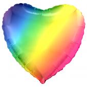 Шар (18''/46 см) Сердце, Радужный, Градиент, 1 шт.