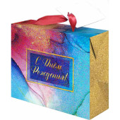 Пакет-коробка подарочный, С Днем Рождения! (абстракция), Голография, 22*13*20 см, 1 шт.
