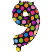Шар с клапаном (16''/41 см) Мини-цифра, 9 Супер Яркий, 1 шт.