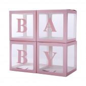Набор коробок для воздушных шаров Baby, Розовые грани, 30*30*30 см, в упаковке 4 шт.