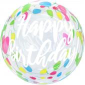 Шар (20''/51 см) Сфера 3D, Deco Bubble, С Днем Рождения! (гирлянда), Прозрачный, Кристалл, 1 шт.