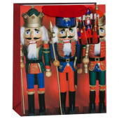 Пакет подарочный, Щелкунчики, Красный, с блестками, 32*26*13 см, 1 шт.