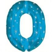 Шар (42''/107 см) Цифра, 0 Искры, Синий, 1 шт. в упак.
