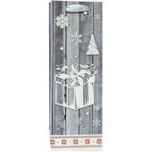 Пакет подарочный для вина, Новогодний подарок, Серебро, с блестками, 35*12*9 см, 1 шт.