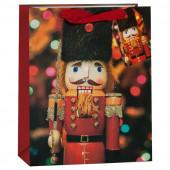 Пакет подарочный, Щелкунчик, Красный, с блестками, 32*26*13 см, 1 шт.