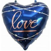 Шар (22''/56 см) Сердце, Любовь (кинематика звезд), Синий, 1 шт.