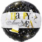 Шар (18''/46 см) Круг, С Новым Годом! (брызги шампанского), Черный/Белый, 1 шт.