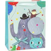 Пакет подарочный, Слон с воздушными шариками, Бирюзовый, 32*26*12 см, 1 шт.