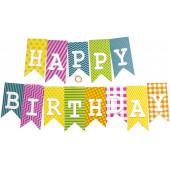 Гирлянда Флажки, Happy Birthday, Ассорти дизайнов, 160 см, 1 шт.