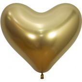Сердце (14''/36 см) Reflex, Зеркальный блеск, Золото (970), хром, 50 шт.
