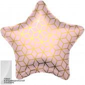 Шар (19''/48 см) Звезда, Геометрия, Розовый, 1 шт. в упак.