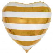 Шар (18''/46 см) Сердце, Белые полоски, Золото, 1 шт.
