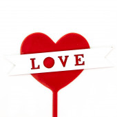 Топпер, Сердце, Love (белая лента), Красный, 10*12 см, 1 шт.