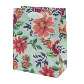 Пакет подарочный, Яркие цветы, Мятный, с блестками, 42*32*12 см, 1 шт.