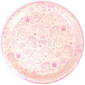 Тарелки (9''/23 см) Сказка для принцессы (радужные единороги), Розовый, 6 шт.