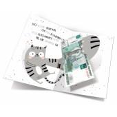 Открытка-конверт для денег, С Днем Рождения! (котики), 12*18 см, 1 шт.