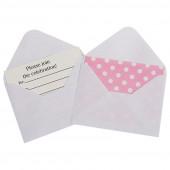 Открытка пригласительная, с конвертом, Белые точки, Розовый, 1 шт.