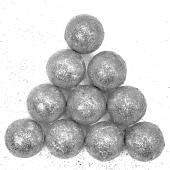 Фигура из пенопласта Шар, Серебро, Металлик, 3 см, с блестками, 10 шт.