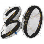 Шар (43''/109 см) Цифра, 30 Мрамор Калакатта, Черный, Голография, 1 шт.