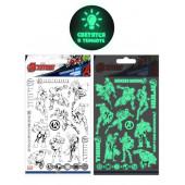 Наклейки-татуировки Мстители, набор №1, флюор, 11*20 см, 1 шт.